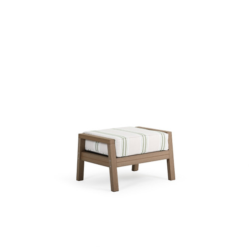 Maui Outdoor PoliSoul™ Ottoman in Weathered Teak