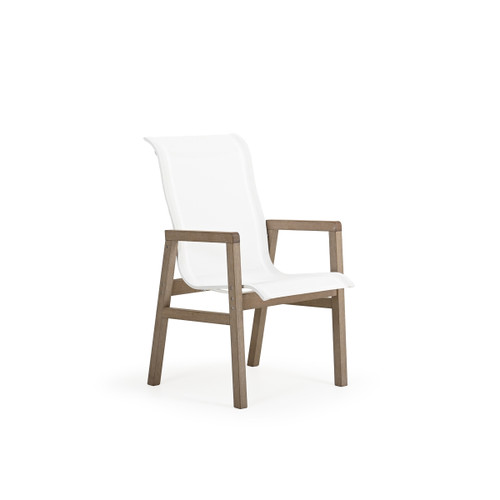 Maui Outdoor PoliSoul™ Sling Dining Arm Chair in Weathered Teak