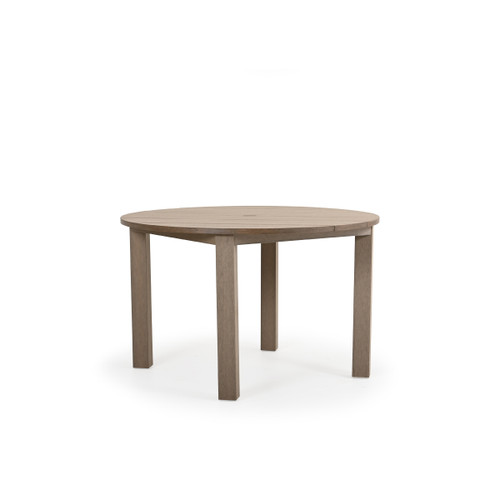 Maui Outdoor PoliSoul™ Round Dining Table in Weathered Teak