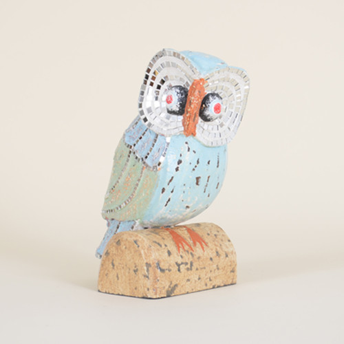 Indoor Distressed Owl with Mirrored Eye Detail