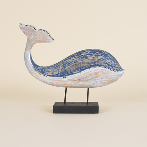 Indoor Blue Whale on Stand with Mirrored Mosaic Accent
