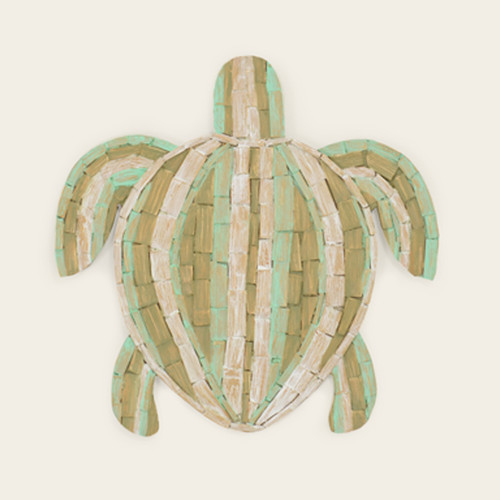 Indoor Aqua & Green Wooden Turtle