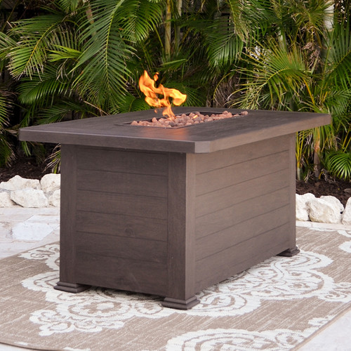 Maldives Outdoor Aluminum Rectangular Fire Pit (Fire Focus)