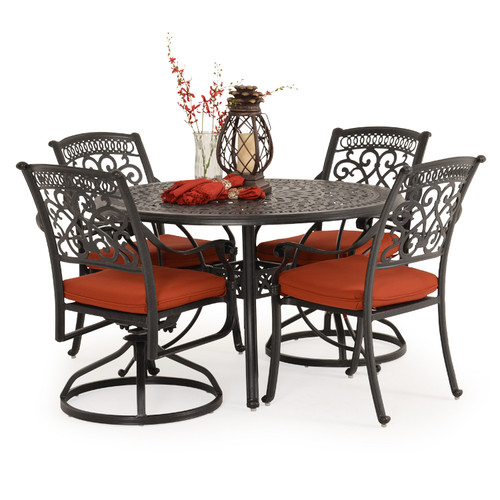 Charleston Outdoor Cast Aluminum 5 Piece Mixed Dining Set