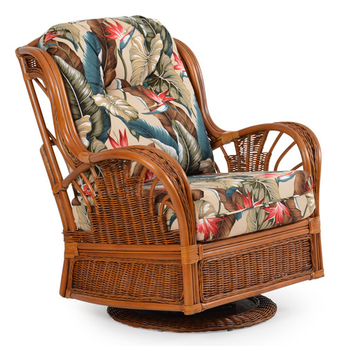 Bali Rattan High Back Swivel Glider