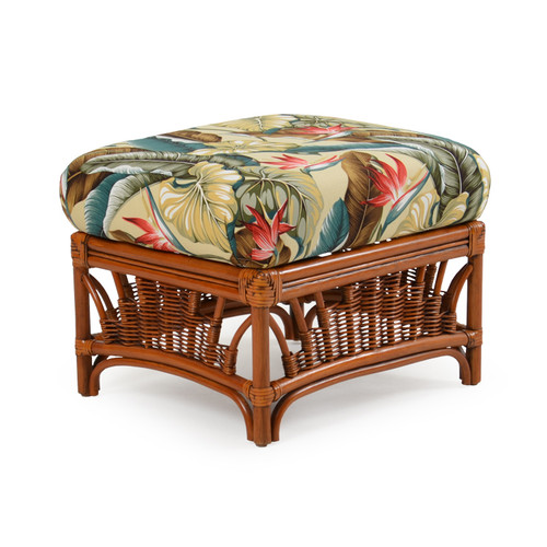 Bali Indoor Rattan Ottoman with Cushion