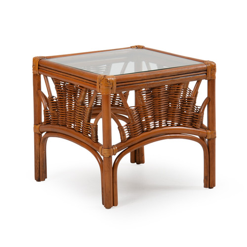 Bali Indoor Rattan Bunching Table with Glass Top