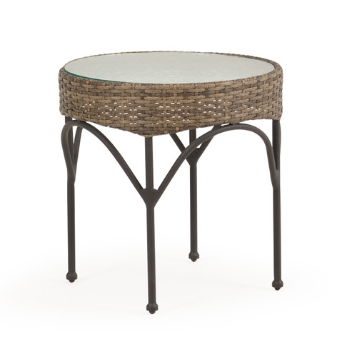 "Garden Terrace Outdoor 21"" Round Wicker End Table"