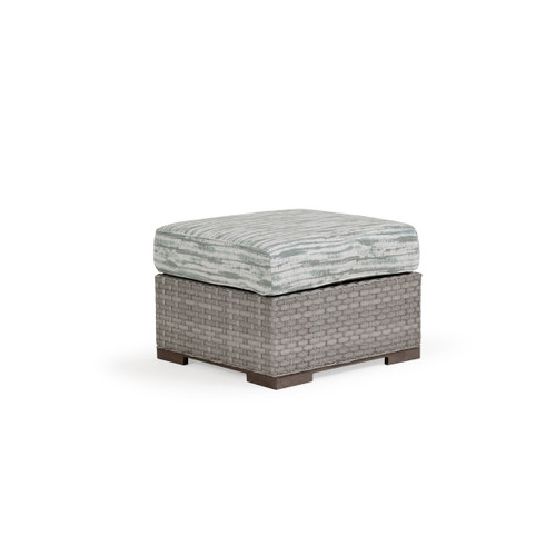 Retreat Outdoor Wicker Ottoman in Pebblestone  with Vintage Walnut