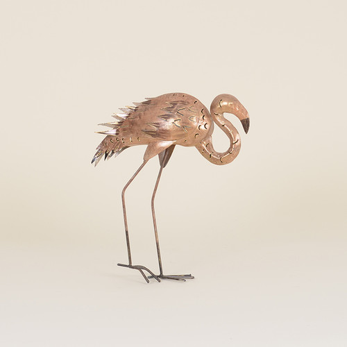 Indoor Metal Pink Toned Walking Flamingo