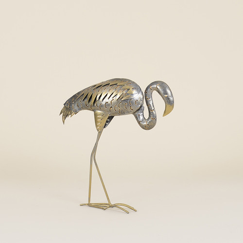 Indoor Metal Walking Neutral Toned Flamingo