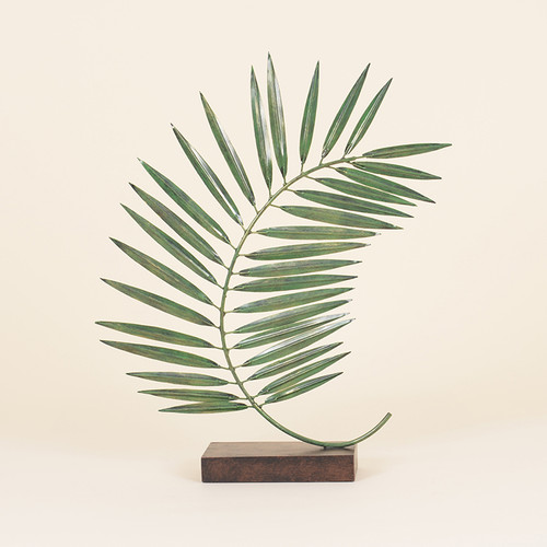 Indoor Single Green Metal Palm Leaf on Black Stand