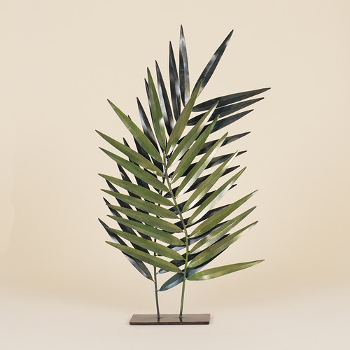 Indoor Double Green Metal Palm Leaves On Black Stand