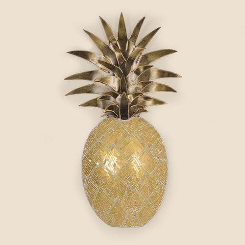 Indoor Gold Tone Metal Pineapple