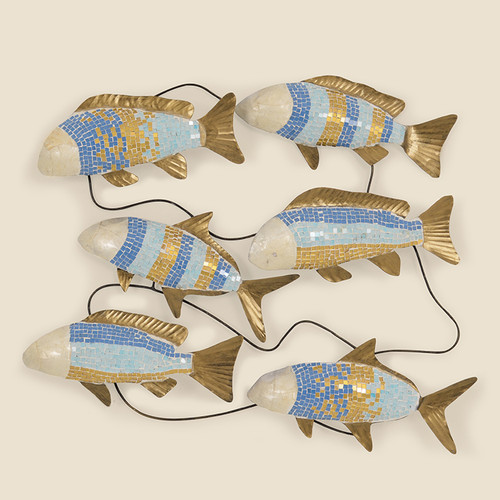 Indoor Six Mosaic Fish on a Wire