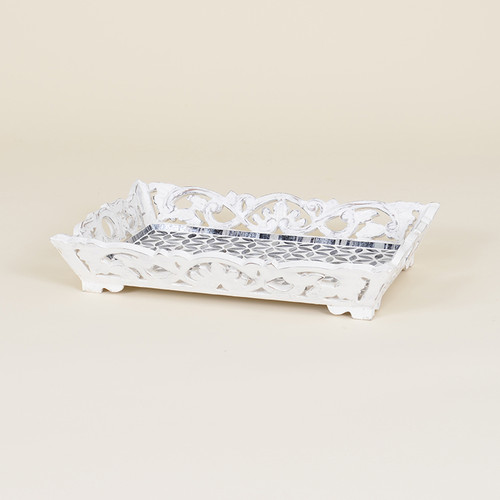Indoor Distressed Wood Mosaic Serving Tray