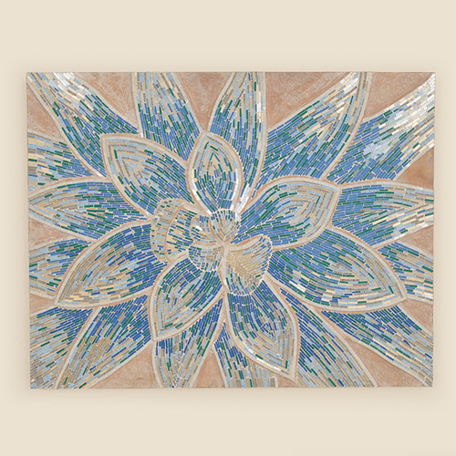Indoor Blue Flower Mosaic Canvas Art