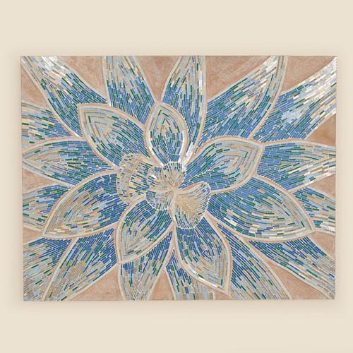 Indoor Blue Flower Mosaic Canvas Art
