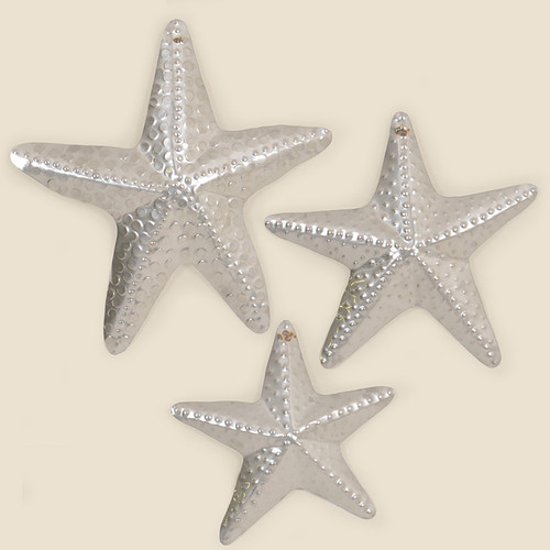 Outdoor Set of Three Silver Starfish