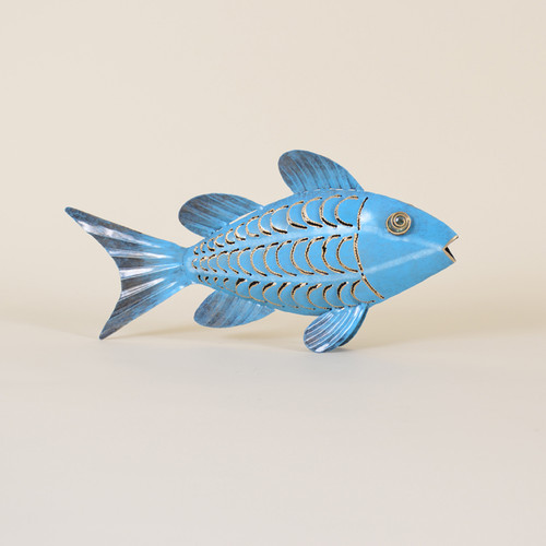 Indoor Blue Iron Fish with Green Accents