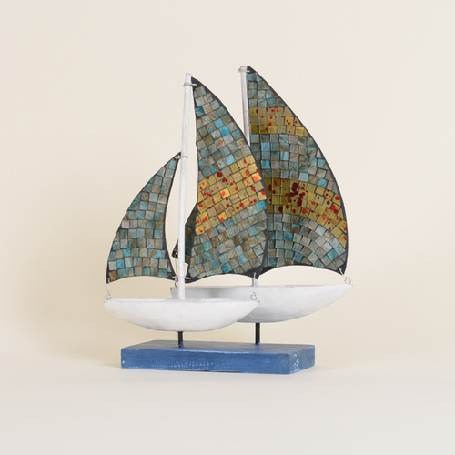 Indoor Mosaic Sailboats on a Stand