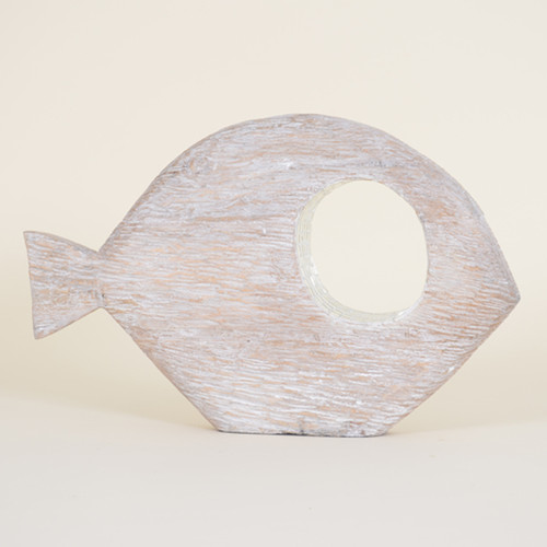 Indoor Large Distressed Abstract Fish with Mirror Rimmed Eye