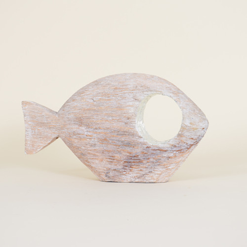 Indoor Small Distressed Abstract Fish with Mirror Rimmed Eye