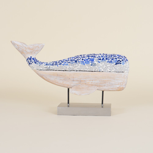 Indoor Blue Whale on Stand with Broken Glass Mosaic Top
