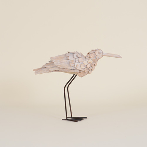 Indoor Driftwood Bird with Metal Legs and Head Up