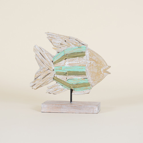 Indoor Wooden Fish On Stand with Aqua & Green Highlights