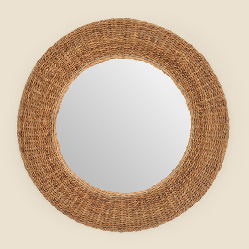 Round Banana Bark Mirror