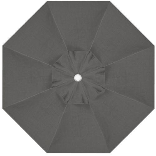 9' Crank Tilt Latitude Grey Umbrella with White Pole