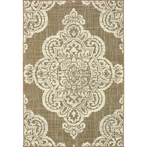 Marina Indoor/Outdoor Medallion Center Neutral Rug