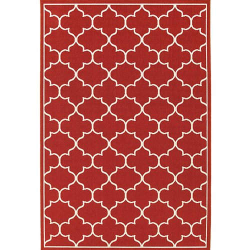 Meridian Indoor/Outdoor Moroccan Tile Red Rug