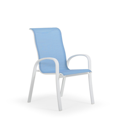 Madeira Outdoor Sling Dining Chair in Textured White with Dupione Poolside Sling