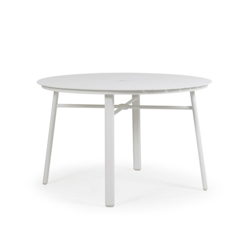 Madeira Aluminum Slat Table in Textured White