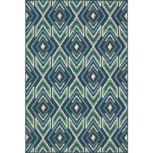 Meridian Indoor/Outdoor Ikat Blue Teal Rug