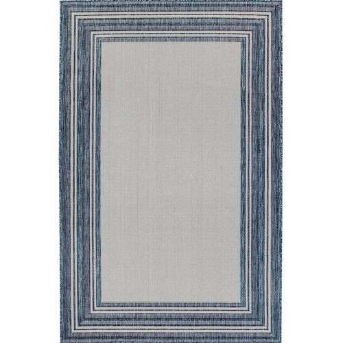 Carmel Indoor/Outdoor Multi Border Navy Rug