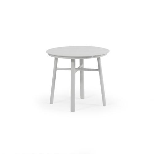 "Madeira Outdoor 20"" Round Aluminum Slat Top Tea Table (Textured White)"