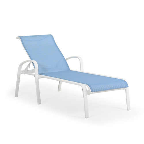 Madeira Outdoor Sling Chaise Lounge in Textured White with Dupione Poolside Sling