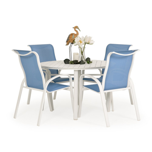 Madeira Aluminum Slat Dining Set in Textured White with Tranquil Blue Sling