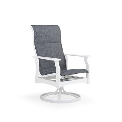 Tobago Outdoor Polymer High Back Swivel Tilt Padded Sling Dining Chair