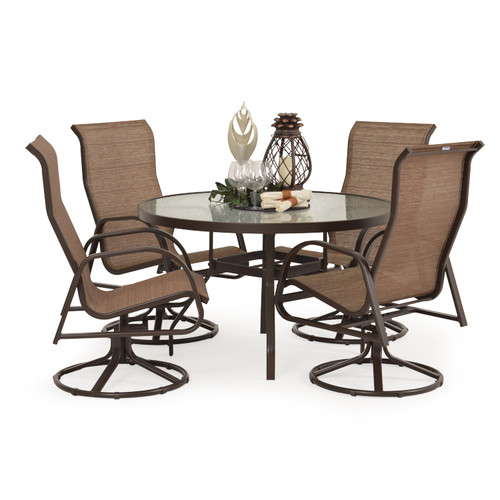 Outer Banks Swivel 5 Piece Sling Dining Set