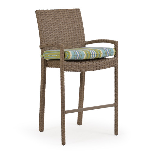 Kokomo Outdoor Wicker Bar Height Stool with Optional Cushion (Oyster Grey)