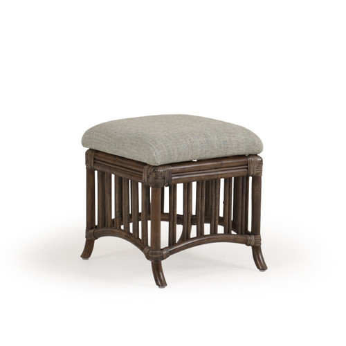 Islamorada Indoor Square Rattan Hassock Stool with Cushion (Espresso Finish)