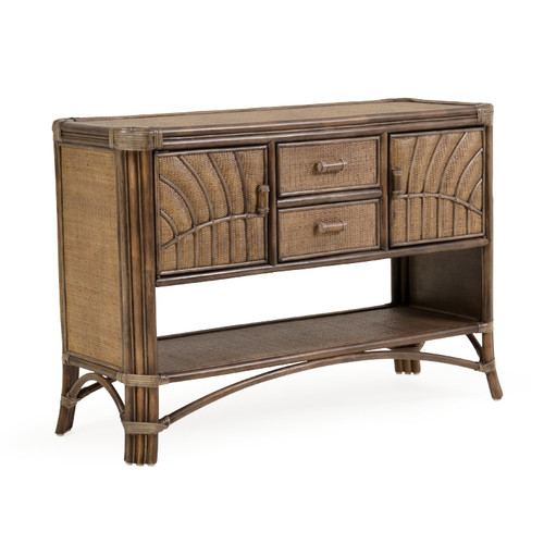 Islamorada Indoor Rattan Console Table (Espresso Finish)