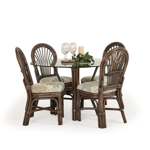 Islamorada Indoor Rattan 5 Piece Dining Set (Espresso Finish)