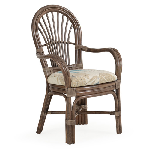 Islamorada Indoor Rattan Dining Arm Chair (Espresso Finish)