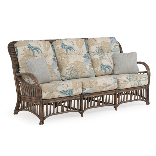Islamorada Indoor Rattan High Back Sofa with Cushions (Espresso Finish)