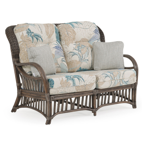 Islamorada Indoor Rattan High Back Loveseat with Cushions (Espresso Finish)